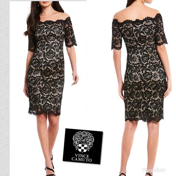 d919ca3d06230 Vince Camuto lace off the shoulder dress